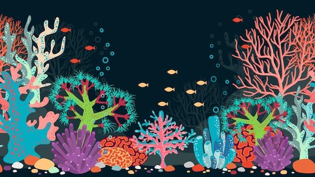 Unterwasserszene. ozean und koralle, riff und wasser, fisch und natur, tier und blasen Kostenlosen Vektoren