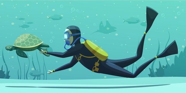 Unterwassertauchen sport cartoon Kostenlosen Vektoren