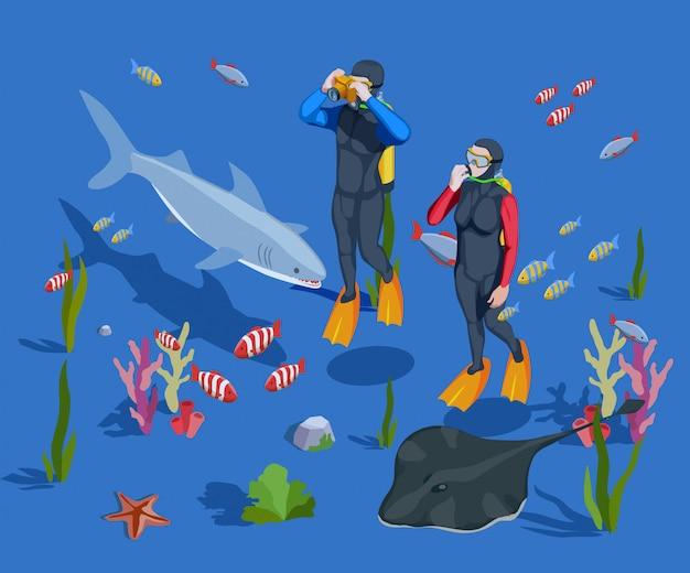 Unterwassertourismus-hintergrund-zusammensetzung Kostenlosen Vektoren