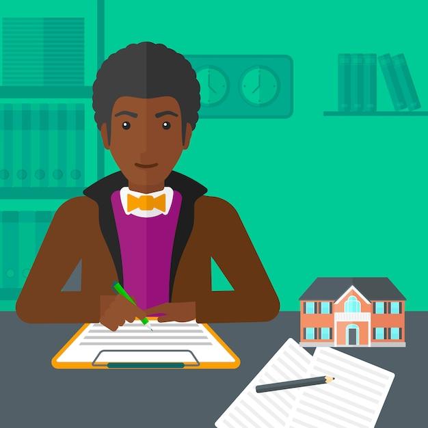 Unterzeichnender vertrag des immobilienmaklers. Premium Vektoren