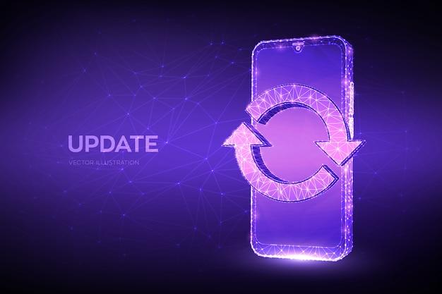 Update, synchronisation, verarbeitungskonzept. abstraktes niedriges polygonales smartphone mit aktualisierungs- oder synchronisierungszeichen. Premium Vektoren