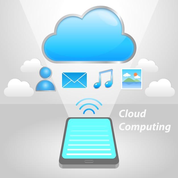 Upload der cloud-kommunikation Premium Vektoren