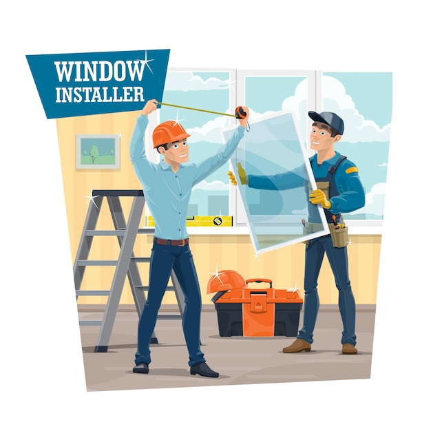 Upvc windows installer arbeiter, Premium Vektoren