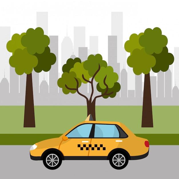 Urban design taxi Kostenlosen Vektoren