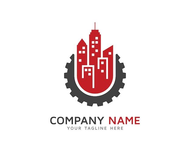 Urban gear logo design Premium Vektoren