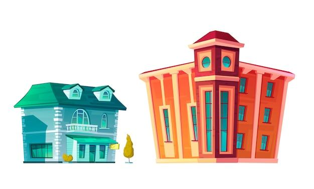 Urban retro gebäude cartoon set Kostenlosen Vektoren