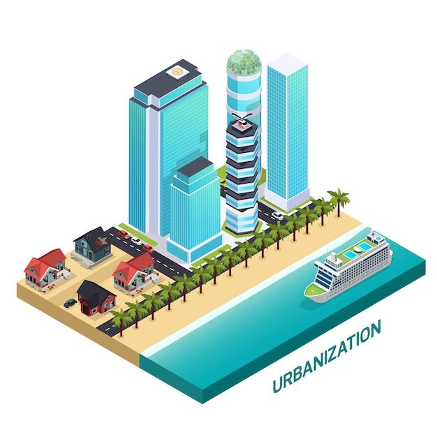 Urbanisierung isometrische zusammensetzung Kostenlosen Vektoren