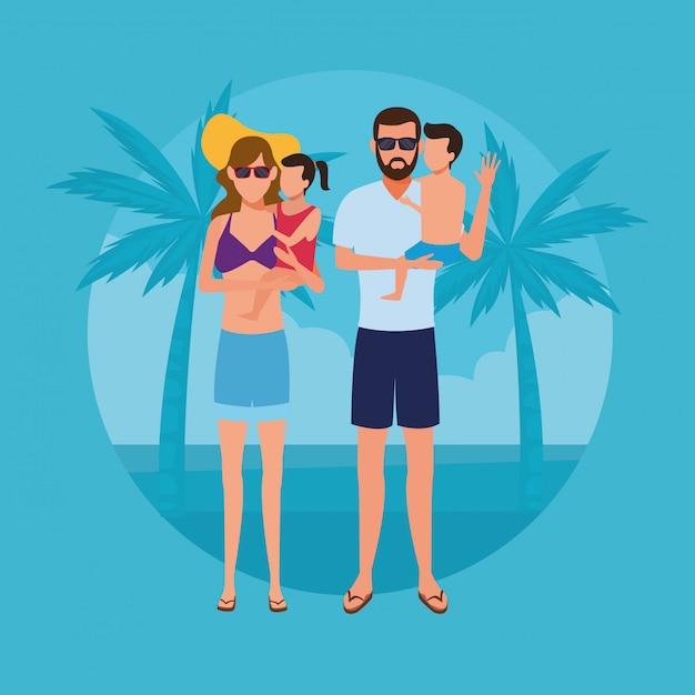 Urlaub am strand Premium Vektoren