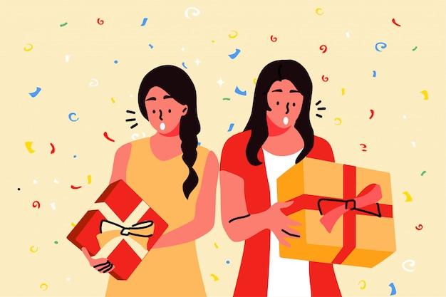 Urlaub, feier, party, geschenkkonzept Premium Vektoren