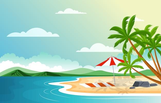 Urlaub in der tropischen strand-seepalme-sommer-landschaftsillustration Premium Vektoren