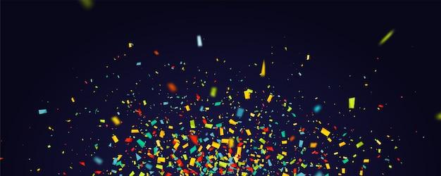 Urlaub mit fliegenden bunten konfetti auf dunkelheit Premium Vektoren