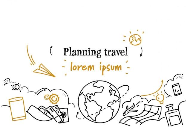 Urlaub urlaub tour routenplanung reise horizontale vorlage Premium Vektoren