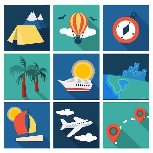 Urlaubs- und reiseideen festgelegt Premium Vektoren