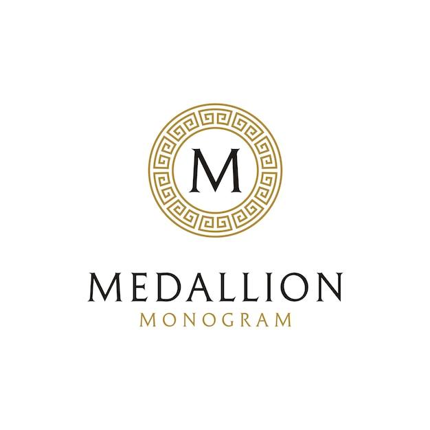 Ursprüngliche logoauslegung mit altgriechischem kreisgrenzrahmen Premium Vektoren