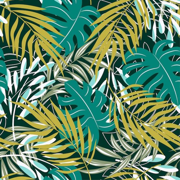 Ursprüngliches abstraktes nahtloses muster mit bunten tropischen blättern und anlagen auf grünem hintergrund Premium Vektoren