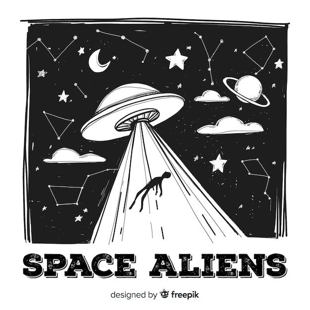 Ursprüngliches hand gezeichnetes ufo-abduktionskonzept Kostenlosen Vektoren