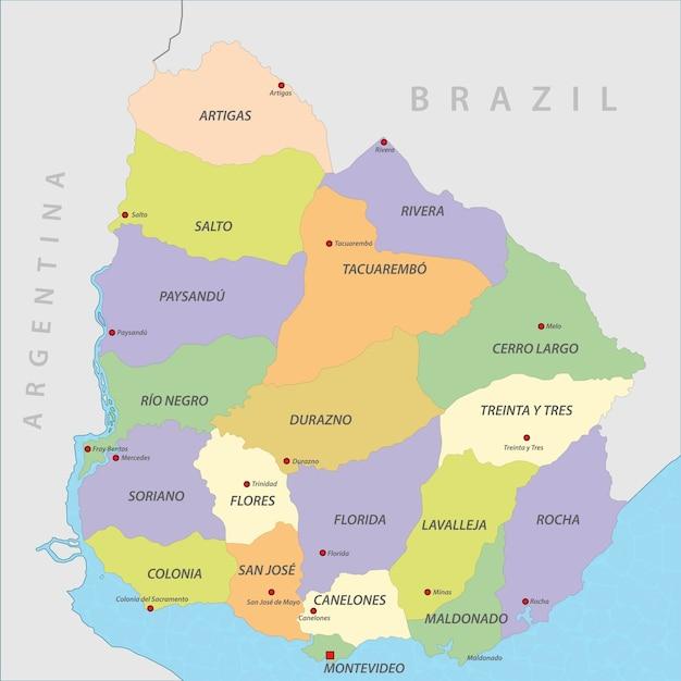Uruguay Karte Vektor Premium Vektor