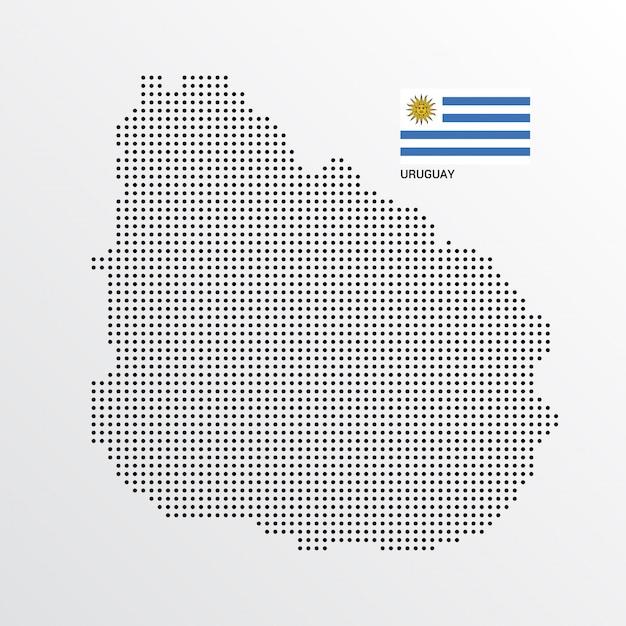 Uruguay-kartenentwurf mit flaggen- und hellem hintergrundvektor Kostenlosen Vektoren