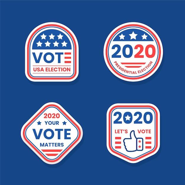 Us-präsidentschaftswahlen abstimmungsabzeichen und aufkleber Kostenlosen Vektoren