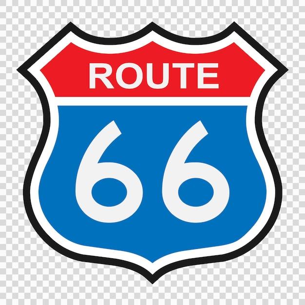 Us route 66 schild, schild mit routennummer Premium Vektoren
