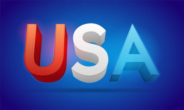 Usa 3d text vektor-illustration Premium Vektoren