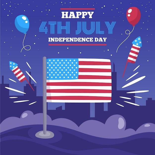 Usa 4. juli luftballons und feuerwerk Kostenlosen Vektoren