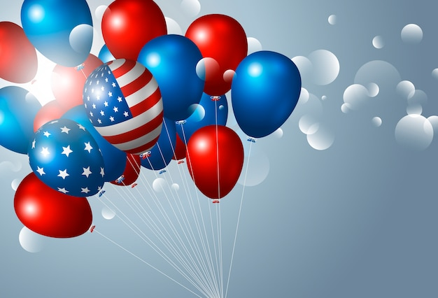 Usa 4. juli unabhängigkeitstag mit luftballons Premium Vektoren
