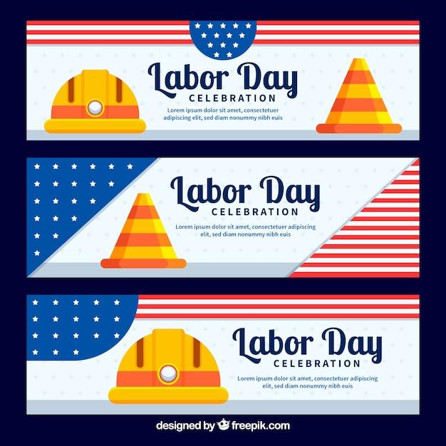 Usa-arbeitstagesfahnen mit flachem design Kostenlosen Vektoren