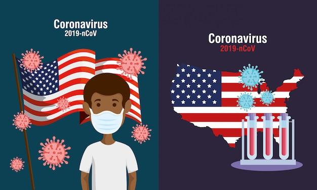 Usa flagge und karte in set covid19 icons Kostenlosen Vektoren