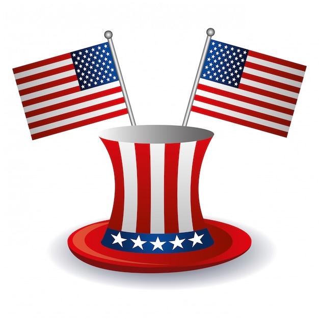 Usa-flaggen und hutdesign. Kostenlosen Vektoren