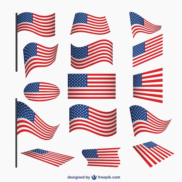 Usa flaggen Vektor-Set   Download der kostenlosen Vektor