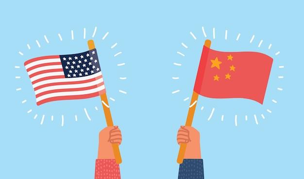 Usa gegen china Premium Vektoren