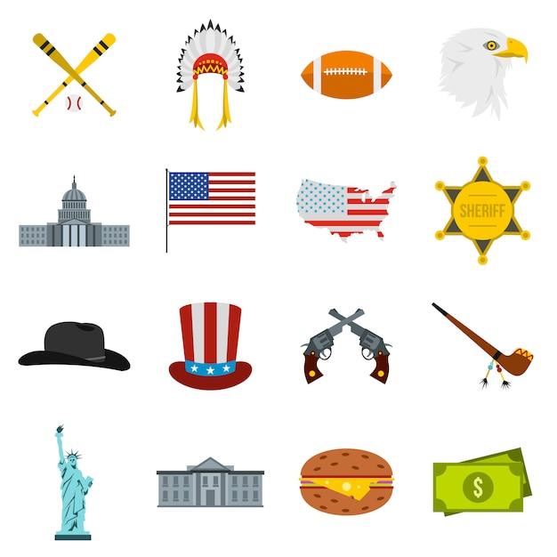 Usa-ikonen eingestellt Premium Vektoren