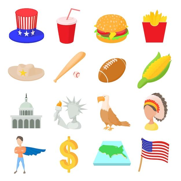 Usa-ikonen stellten in die karikaturart ein, die auf weißem hintergrund lokalisiert wurde Premium Vektoren