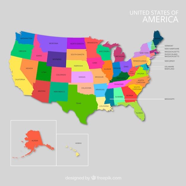 Usa kartenentwurf mit vibrierenden farben Kostenlosen Vektoren