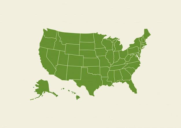 Usa-kartengrün lokalisiert auf weißem hintergrund Premium Vektoren