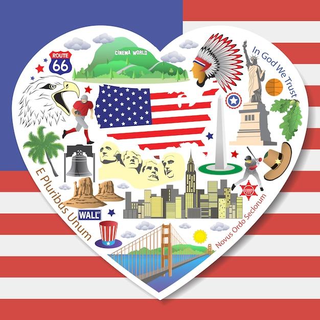 Usa liebe. stellen sie amerikanische ikonen und symbole in der form des herzens ein Premium Vektoren