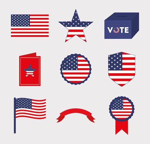 Usa und abstimmung symbol set design, präsident wahl regierung und wahlkampfthema Premium Vektoren