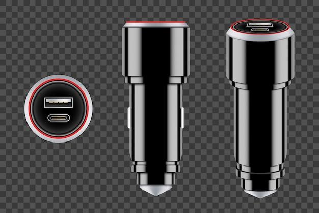 Usb-ausrüstung des ladegerätautos, elektronikgerät. Premium Vektoren