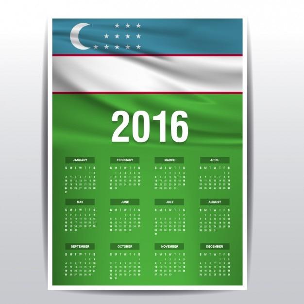Usbekistan-kalender 2016 Kostenlosen Vektoren