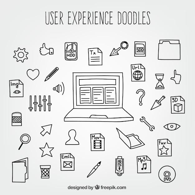 User experience kritzeleien mit symbolen Kostenlosen Vektoren