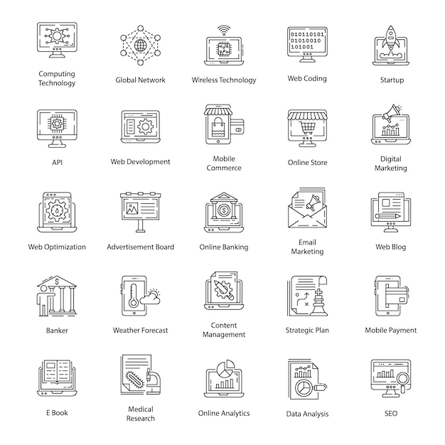 User interface line icons pack Premium Vektoren