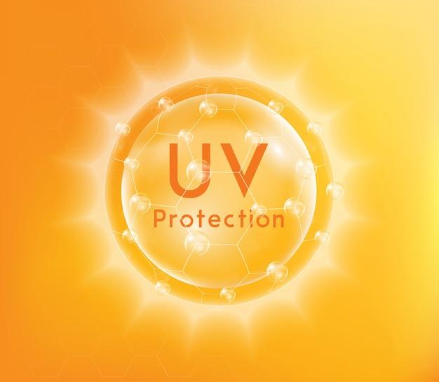 Uv-schutz oder ultravioletter sonnenschutz. Premium Vektoren