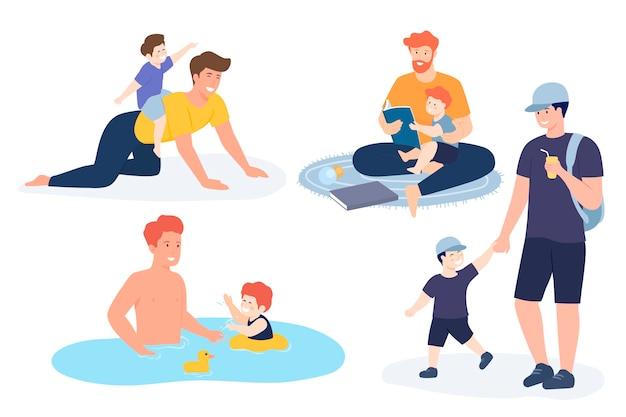 Väter spielen, haben spaß miteinander und genießen eine gute zeit mit ihren kleinen kindern Kostenlosen Vektoren