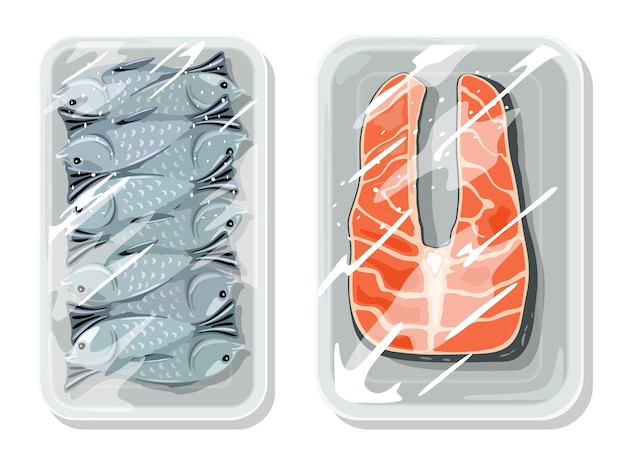 Vakuumverpackung zur bestmöglichen aufbewahrung von lebensmitteln, lagerung, lagerung, transport von meer-, fluss- und seefischen. Premium Vektoren