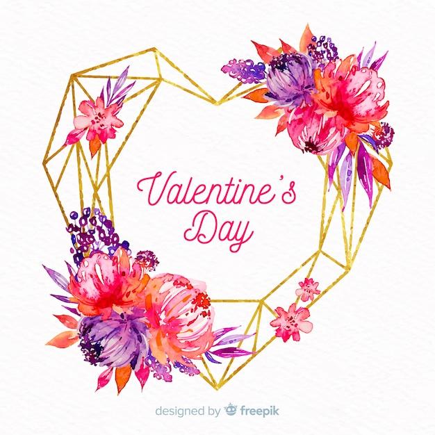Valentine aquarell blumen herz hintergrund Kostenlosen Vektoren