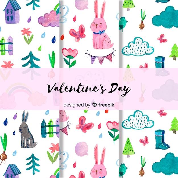Valentine aquarell muster gesetzt Kostenlosen Vektoren