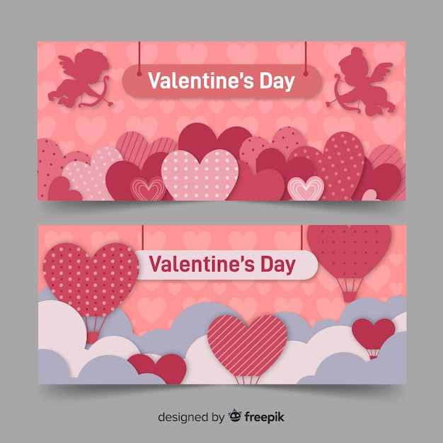 Valentine banner herzen und heißluftballon Kostenlosen Vektoren