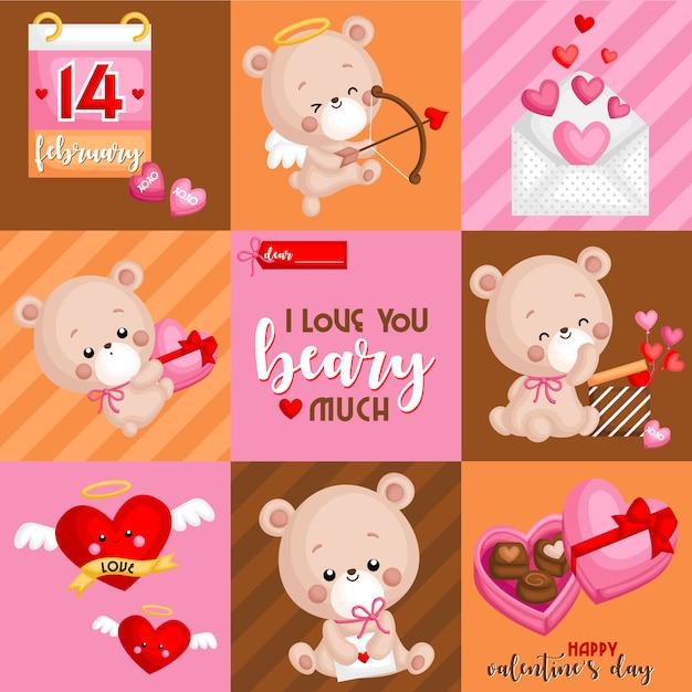 Valentine bear box Premium Vektoren