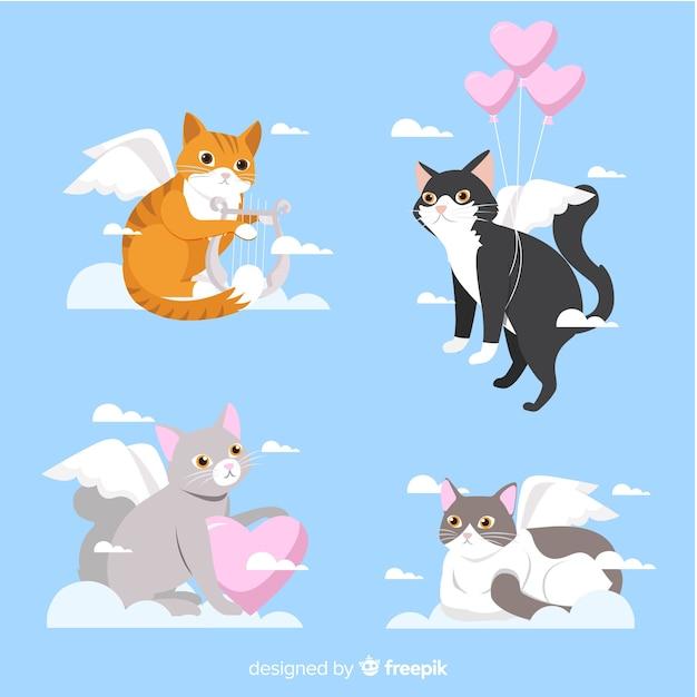 Valentine cupid katzensammlung Kostenlosen Vektoren
